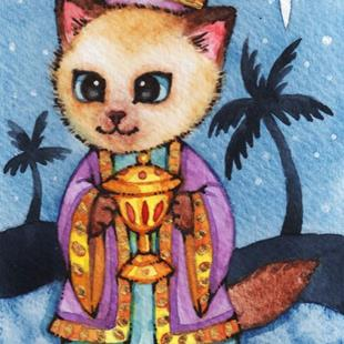 Art: Kitty Magi II ACEO by Artist Carmen Medlin