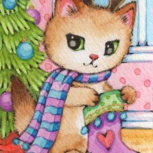 Art: Kitty Reindeer ACEO by Artist Carmen Medlin