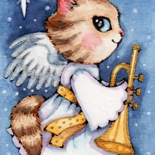 Art: Herald Angel Kitty ACEO by Artist Carmen Medlin