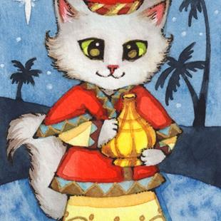 Art: Kitty Magi III ACEO by Artist Carmen Medlin