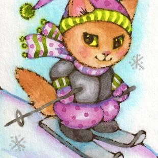 Art: Kitty Skiing ACEO by Artist Carmen Medlin