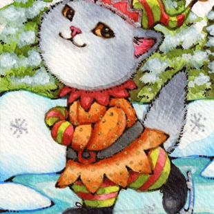 Art: Skating Kitty Elf ACEO by Artist Carmen Medlin