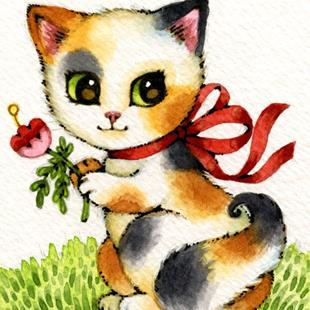 Art: Flower Picking ACEO by Artist Carmen Medlin