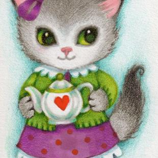Art: Little Teapot ACEO by Artist Carmen Medlin