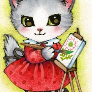 Art: Little Artist ACEO by Artist Carmen Medlin