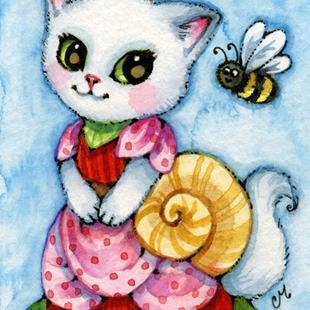 Art: Snail Dress ACEO by Artist Carmen Medlin
