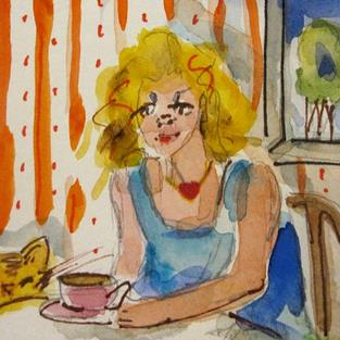 Art: A Friend For Coffee by Artist Delilah Smith