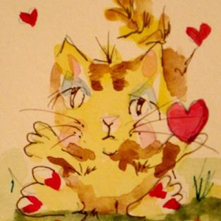 Art: Valentine Fat Cat by Artist Delilah Smith
