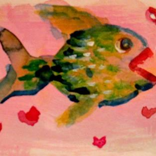 Art: Valentine Fish Aceo by Artist Delilah Smith