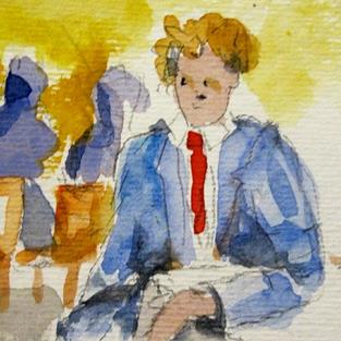 Art: Blue Suit- SOLD by Artist Delilah Smith