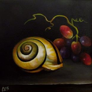 Art: Snail Shell and Grapes by Artist Christine E. S. Code ~CES~