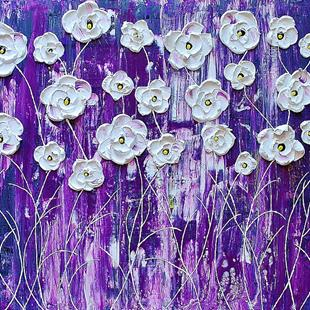 Art: Purple Rain Blossoms III Limited Edition Print (Sold) by Artist Amber Elizabeth Lamoreaux