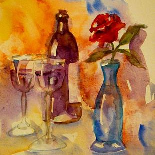 Art: Wine and Rose Still Life by Artist Delilah Smith