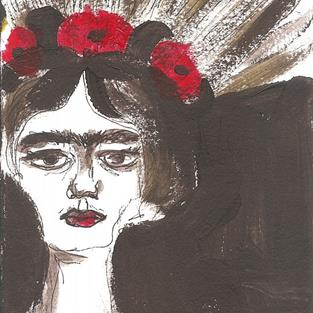 Art: Frida with Poppies in her Hair by Artist Nancy Denommee