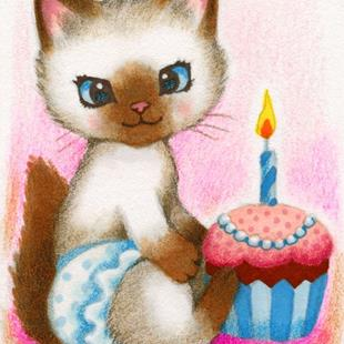 Art: Birthday Kitten ACEO by Artist Carmen Medlin