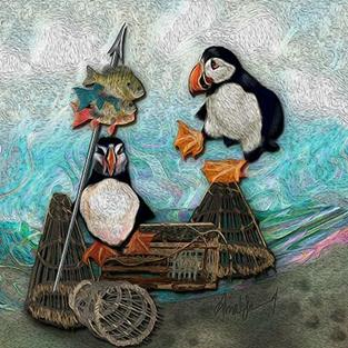 Art: Huffin and a Puffin by Artist Alma Lee