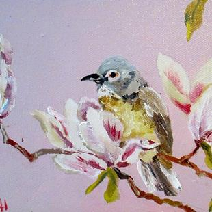 Art: Magnolias and Bird by Artist Delilah Smith