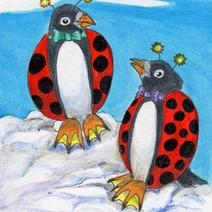 Art: Adelie Penguin Lady Bugs Chatting by Artist Kim Loberg
