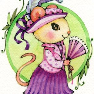 Art: Edwardian Lady Mouse ACEO by Artist Carmen Medlin