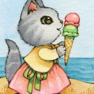 Art: Ice Cream at the Beach ACEO by Artist Carmen Medlin