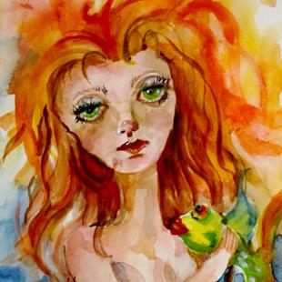 Art: Green Eyed Mermaid and Fish by Artist Delilah Smith