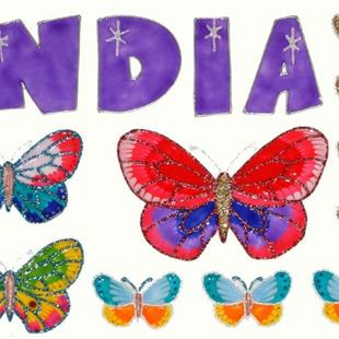 Art: India & Butterflies by Artist Jane Gould