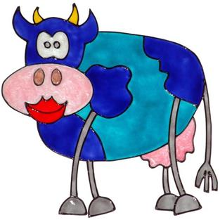 Art: Blue Cow by Artist Jane Gould