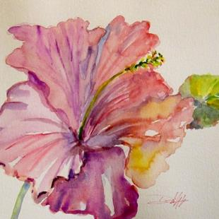 Art: Pink Hibiscus-sold by Artist Delilah Smith