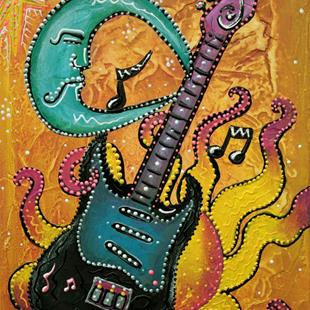 Art: Celestial Guitar by Artist Laura Barbosa