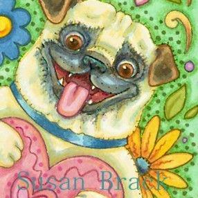 Art: BE MINE Pug by Artist Susan Brack