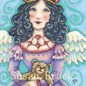 Art: VALENTINE ANGEL AND TEDDY by Artist Susan Brack