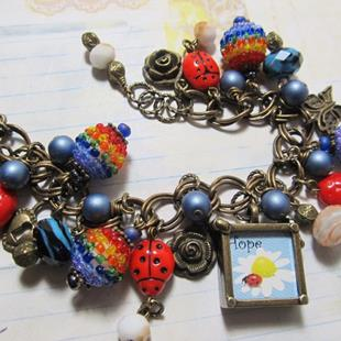 Art: Ladybug Charm bracelet one of a kind, all handmade by Artist Lisa  Wiktorek