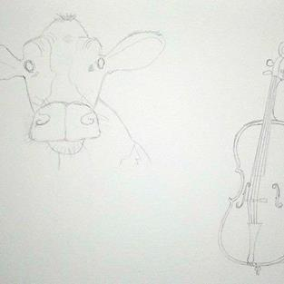 Art: Cow and Cello by Artist Jane Gould