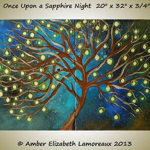 Art: Once Upon a Sapphire Night (sold) by Artist Amber Elizabeth Lamoreaux
