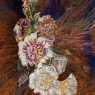 Art: Hollyhock Explosion by Artist Alma Lee