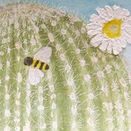 Art: Flowering Saguaro and Bee by Artist Marcine (Marcy) Dillon