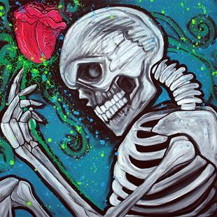Art: Skeleton Rose by Artist Laura Barbosa
