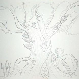 Art: Twisty Tree sketch by Artist Jane Gould