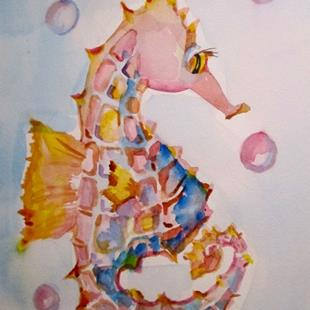 Art: Pink Seahorse by Artist Delilah Smith