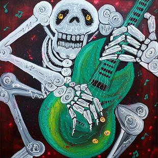 Art: Skeleton Guitarist by Artist Laura Barbosa