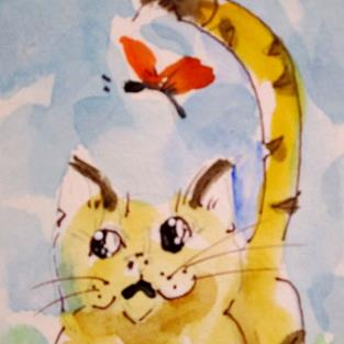 Art: Cat and Butterfly Aceo by Artist Delilah Smith
