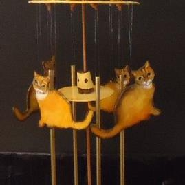 Art: Cat Wind Chime by Artist Kathy Hatt