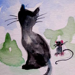 Art: Cat and Mouse Aceo by Artist Delilah Smith