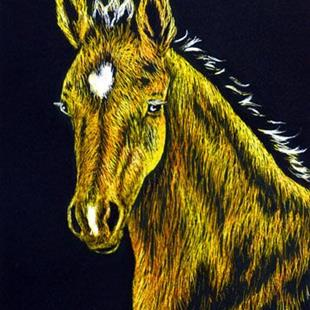 Art: Palomino Foal (SOLD) by Artist Monique Morin Matson