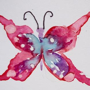 Art: Pink and Blue Butterfly by Artist Delilah Smith