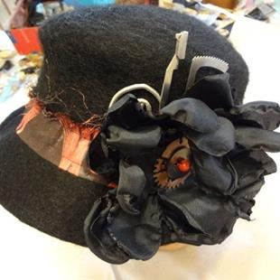 Art: BLACK HAT WITH COPPER PIECE by Artist Vicky Helms