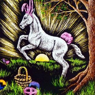 Art: Practicing For Easter (SOLD) by Artist Monique Morin Matson