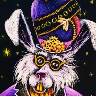Art: Steampunk Grandfather Rabbit  (SOLD) by Artist Monique Morin Matson