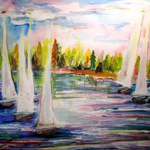 Art: Sail Boats by Artist Delilah Smith