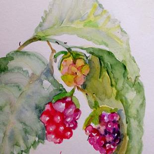 Art: Raspberries by Artist Delilah Smith
